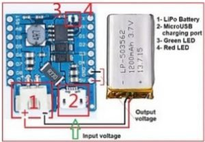 TP4056 board to charge aLi-Ion LiPo PKCell