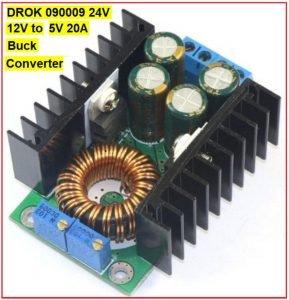DROK 090009||F 24V 12V to 5V 20A Buck Converter,