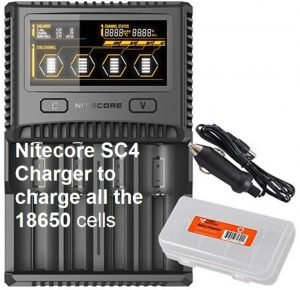 Nitecore SC4 Charger to charge all the 18650 cells