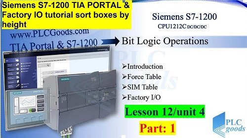 sorting boxes by height project using Siemens S7-1200 TIA PORTAL and Factory IO Lesson 12