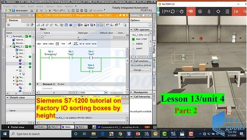 Siemens S7-1200 TIA PORTAL on Factory IO sorting boxes by height  Lesson 13