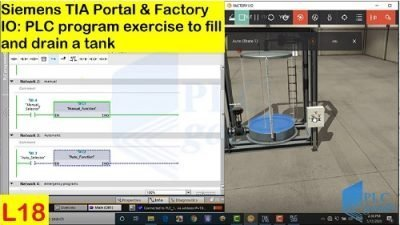 Siemens TIA portal exercise to fill/drain a tank using timers Lesson 18
