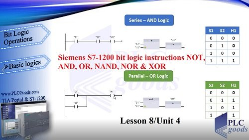 Siemens S7-1200 NOT, AND, OR, NAND, NOR and XOR instructions Lesson 8