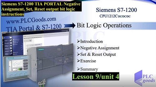 Siemens S7-1200 TIA PORTAL Assignment, Set, Reset output instructions