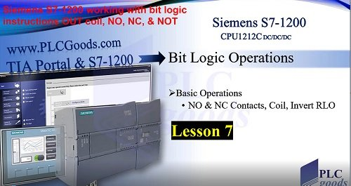 Siemens S7-1200 OUT coil, NO, NC, & NOT instructions Lesson 7
